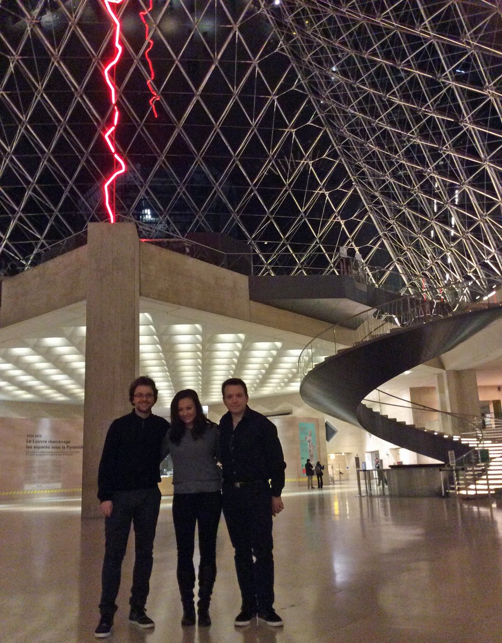 The Sitkovetsky Trio at the Louvre, before their performance of 'Butterflies Remember a Mountain'