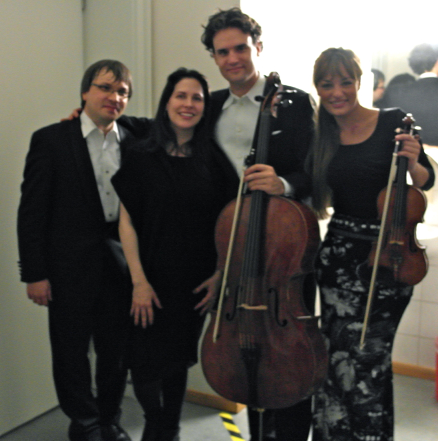At the world premiere of 'Butterflies Remember a Mountain' in Bremen, with the Benedetti- Elschenbroich-Grynyuk Trio